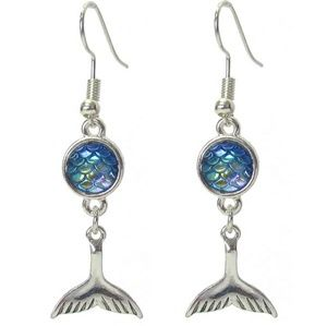 NEW mermaid tail blue and silver earrings